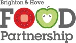 B&H Food Partnetship logo, showing the words spelled out in grey with the word food in big letter with the letter o's replaced with cartoon round vegetables - a red tomato and a green apple.